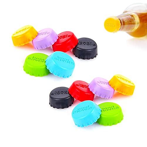 12 tapones de silicona para botellas de cerveza, coloridos, tapones de silicona respetuosos con el medio ambiente, en 6 colores