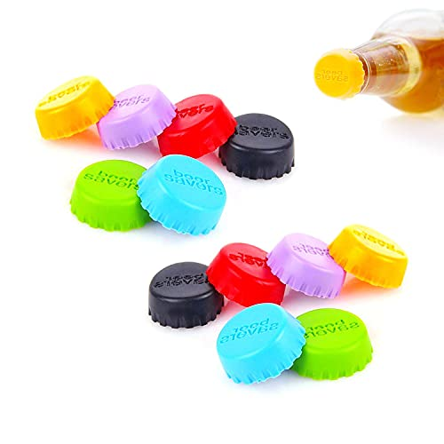12 tapones de silicona para botellas de cerveza, coloridos, Botellas sellador de Silicona...