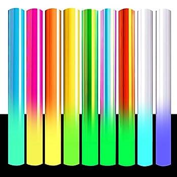 Heflashor Glow in Dark Heat Transfer Vinyl,12  x 10 ,Iron-on Vinyl Luminous HTV Rolls Bundle for T-Shirts Clothes Fabric,Noctilucent Heat Press Vinyl DIY Supplies 9 Assorted Colors