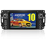 Android 10.0 Car Stereo Radio 6.2 Inch Touch Screen with Bluetooth GPS Support Apple Carplay Andriod Auto Head Unit for Jeep Wrangler JK Grand Cherokee Compass Chrysler Dodge Ram Grand Caravan