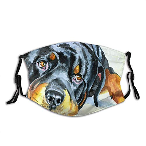 Mundschutz Face Cover Rottweiler Dog Dogs Rottie Pets Pet Portrait Watercolor Canine Nature Balaclava Unisex Reusable Mouth Cover for Outdoor Face Decorations