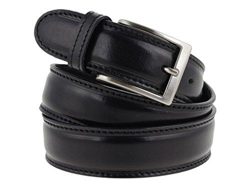 La Bottega del Calzolaio Cintura uomo in pelle nera classica con impuntura artigianale made in Italy 3,5 cm (110 cm (42/44-44/46 EU))