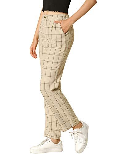 Allegra K Women's Plaid Pants Elastic Waist Casual Work Office Long Trousers Medium Khaki