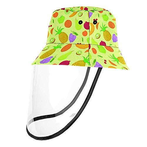 MUOOUM - Sombrero de pesca para exteriores con diseño de frutas y polvo, protección contra la nariz y la boca, antivaho y protección solar, para niños y niñas, a prueba de polvo, gorras de pescador, color multicolor, tamaño Head Circumference 22.6 In(57. 5cm)