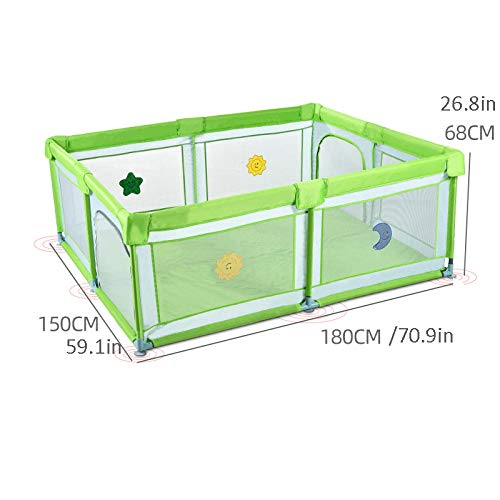 Vitila 32 sq ft Green Activity Centre Baby with Breathable Mesh,4 Panel Baby Playnest for Babies Toddler Newborn Infant, Indoor And Outdoor Playard