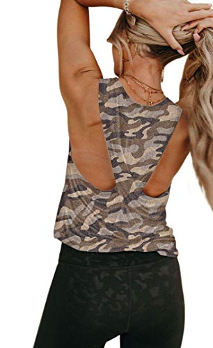 REVETRO Cross Back Yoga Tops for Women Activewear Workout Tank Tops Athletic Sleeveless Open Back Exercise Gym Shirts Gray Camo Medium