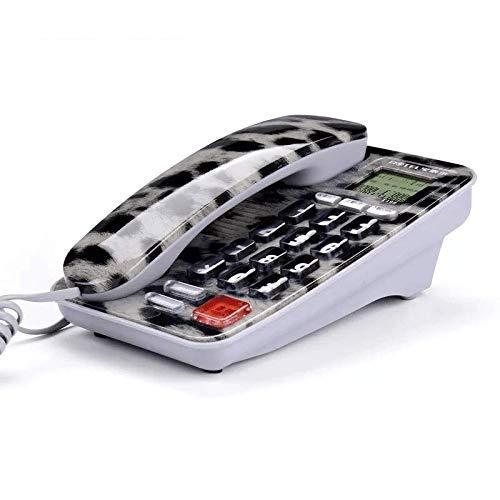 FCXBQ Moda Hotel Habitación Teléfono Teléfono Fijo Oficina Teléfono de casa Mini teléfono Fijo Identificador de Llamadas (Color: Gris Leopardo)