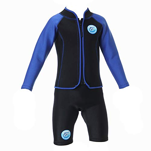 Traje de baño de neopreno para niños, manga corta, protección solar, 2,5 mm, neopreno, dos piezas, trajes húmedos, pantalones cortos para niños y jóvenes, traje de baño (azul, S)