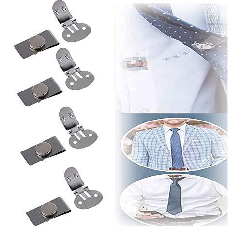 Clips corbata fijos magnéticos invisibles, soporte corbata anti-flotante y anti-swing, clips de corbata acero inoxidable antiarrugas (4 juego)