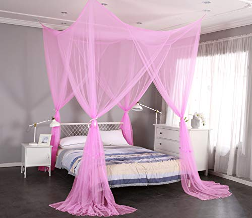 Mengersi 4 Corner Post Elegant Mosquito Net Curtain Bed Canopy for Single Twin Twin XL Size Bed,Suitable for Indoor Outdoor Net (L80xW40xH80 inch, Pink)