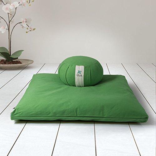ZAFUKI Pack Zafu + Zabutón Verde Amazonas/Cojín para Yoga, Redondo/zafu/Cojín de meditación/Estera meditación, colchoneta meditación y Yoga, Base para cojín de meditación.