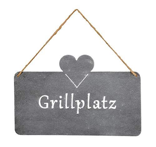levandeo Schild Grillplatz 25x16cm Herz Garten-Deko Grau Betonoptik Türschild Wandbild Schriftzug Wanddeko Grillen Sommer