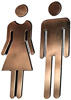 Z-Color Modern Acrylic Bathroom Sign Decor Adhesive Foil Backed Men's and Women's Unisex (Bronze)