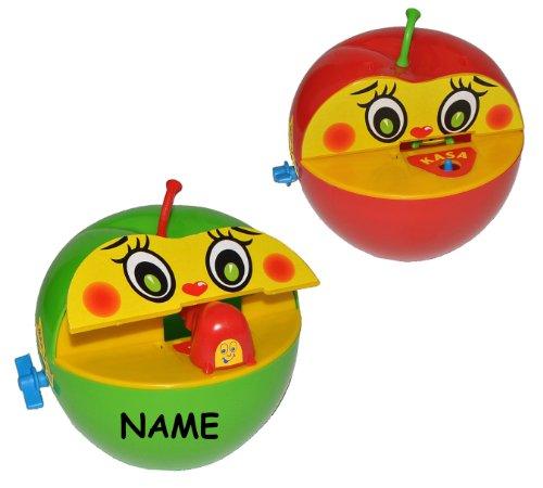 alles-meine.de GmbH 1 STK. Spardose Apfel mit Wurm - incl. Namen - beim Geldeinwerfen - Sparbüchse Sparschwein für Kinder Apfelspardose