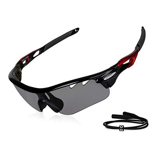 GARDOM Gafas de Sol Deportivas Gafas de Ciclismo con Anti-UV con Correas para Conducción Pesca Golf Corriendo (Lente Gris)
