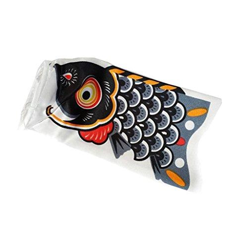 Inzopo - Bandera de carpa de Koinobori japonesa de pescado colgante Koi Nobori Sailfish – Negro, 15 cm negro