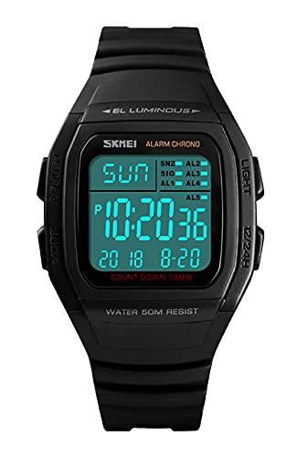 Herrenuhr Digital,50M- Wasserdicht Sportuhren, Schwarz Armbanduhr mit LED/Alarm/Countdown/Kalender für Jungen