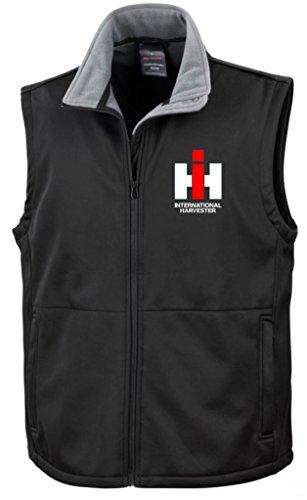 IHC Int. Harvester Softshell Weste | Brust- und Rückendruck | Schwarz | Größe XXL