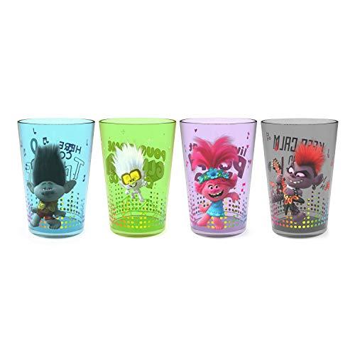 Zak Designs DreamWorks Trolls World Tour - Juego de vasos de plástico duraderos, 435 ml, ideal para niños, 4 unidades (14 onzas, amapolas y amigos)
