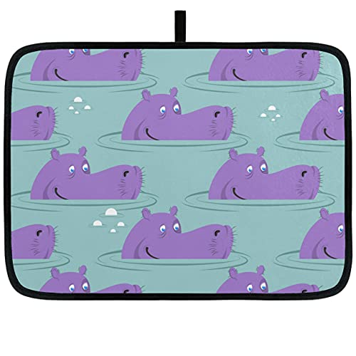 Alfombrillas de Secado de 18 x 16 Pulgadas / 24 x 18 Pulgadas para Platos Criatura acuática Animal Lindo Hipopótamo Plato de Secado Almohadilla Absorbente Fácil de Limpiar Alfombrilla de Secado de us