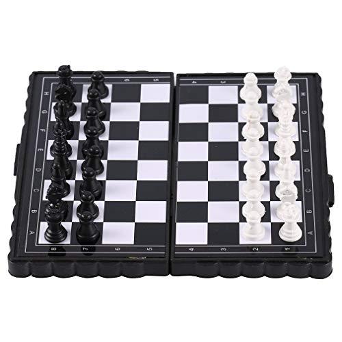 Generic Tragbare klappbare magnetische Tasche Plastikschach Schachunterhaltung für Party Schwarz + Weiß