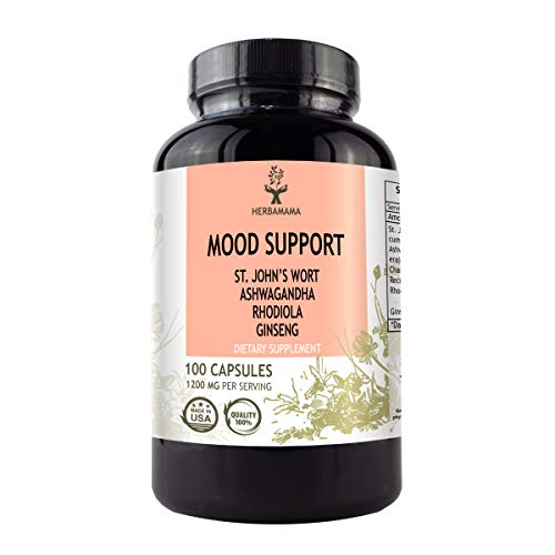 Mood Support 100 Capsules 1200 mg | Anxiety and Stress Relief | Promotes Healthy Nervous System | Mood Booster | Filled with St. John's Wort, Ashwagandha, Rhodiola, Ginseng & Chamomile | Non-GMO