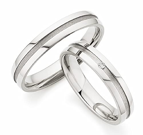123traumringe Trauringe/Eheringe aus Titan mit BRILLANT in Juwelier-Qualität (Brillant/Gravur/Ringmaßband/Etui)
