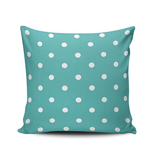 GOSMAO Funda de Almohada Lunares Blancos turquesas y Menta Verde sobre Verde Azulado Personalizado Algodón Lino Throw Pillow Case Funda de Almohada para Cojín 45x45 cm