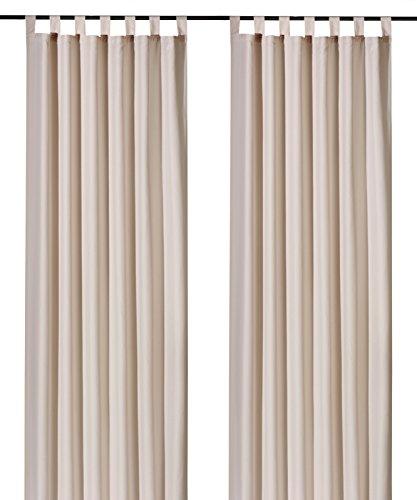 heimtexland ® Dekoschal mit Schlaufen und Kräuselband uni in creme HxB 175x140 cm BLICKDICHT aber Lichtdurchlässig - Vorhang natürlich matt beige einfarbig mit wunderschön leichtem Fall - Schlaufenschal Bandschal ÖKOTEX Gardine Typ117