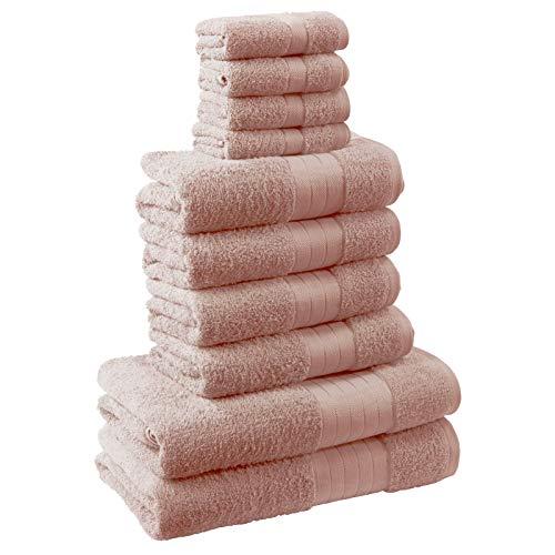 Brentfords - Set da bagno 10 pezzi, 100% cotone premium 500 g/m², colore: Rosa