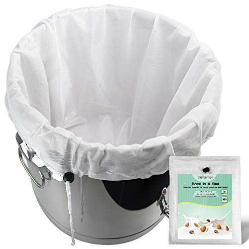 """Bellamei Brew Bags Reusable 2 Pack 250 Micron Fine Mesh Bag for Fruit Cider Apple Grape Wine Press Drawstring Straining Brew in a Bag (2 pack-22""""×26"""")"""