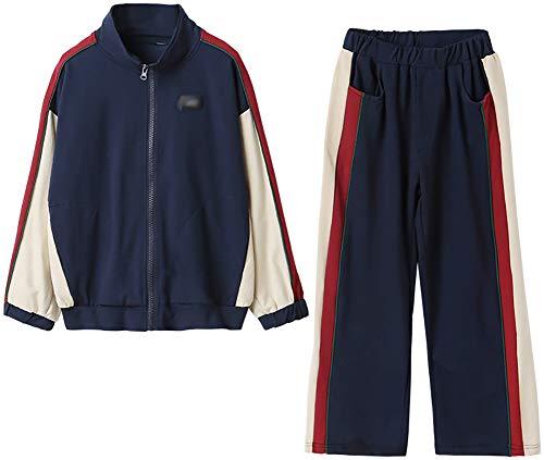 Traje de primavera y otoño, camisa con cremallera, pantalones de pierna ancha, traje exterior a juego de colores, traje de dos piezas (azul oscuro)