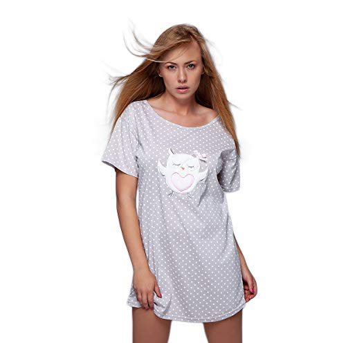 S& SENSIS angesagtes und hochwertiges Baumwoll-Nachthemd (Made in EU) Sleepshirt mit modischem Print, Gr. Einheitsgröße, Hellgrau mit Eule
