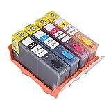 Ouguan 4X Rechargeable Complet Cartouche d'encre HP 364 364 XL Compaitble pour C5380...