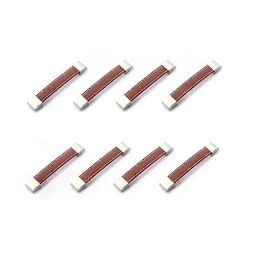 Möbelgriffe, für Schrank, Schubladen, Türen, Schrankgriffe, Schrankgriffe, Schrankgriff, Metall, Leder, 8 Stück (96mm/3.77in, braun)