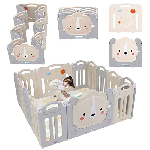 Doctor Dolphin Foldable Baby Playpen  Play Gate for Toddler Play Yard Lion Play Gate Panel with Toys Board 12 Panels1 Gate1 Game Board