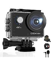 GOOKAM Go 2 Action Cam 4K 20MP onderwatercamera 40M waterdichte camera actiecamera WiFi helmcamera met 2.4G afstandsbediening 170° groothoek met 2x1050mAh batterijen externe microfoon accessoires kits