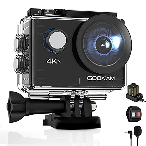 GOOKAM 4K 20MP Sport Action Camera WiFi Underwater 40M Waterproof Camera 170° Wide Angle 2'' LCD Screen with External Microphone Remote Control 2x1050mAh Rechargeable Batteries and Accessories Kit