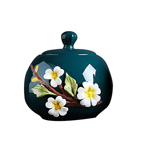 Urns for Human Ashes Adult Urns For Ashes Adult Ceramic Funeral Mother Urn Ashes Wrapped In Foil Paper Adult/Dad/Grandpa/Grandma/Baby/Animal Handmade Flowers Blue Red Pink Green (130x140mm) 2020