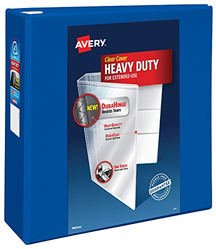Avery Heavy Duty View 3 Ring Binder, 4 One Touch EZD Ring, Holds 8.5 x 11 Paper, 1 Pacific Blue Binder (79814)