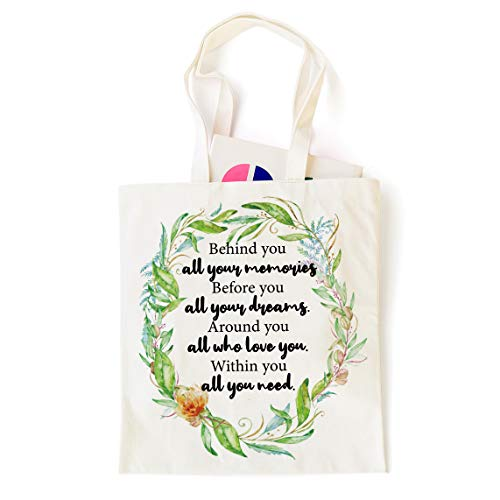 Ihopes Inspirational Motivational Quotes 12 Oz Reusable Tote Bag | Behind You All Your Memories 100% Cotton Tote Bag | Best Graduation/Birthday/Christmas Gifts for Men/Women/Friends/Kids