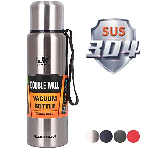 QAQWER Große Kapazität Edelstahl Thermosflasche Sport Im Freien Tragbare Reise Wasserflasche Auto Wasserflasche,1,1500ml
