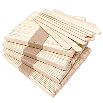 Makerstep 200 Natural Wood Craft Popsicle Sticks for Crafts 4.5 Inch Waxing Spatulas Epoxy Resin Stirring Ice Cream Candy Making and Garden Markers Smooth Splinter-Free Wooden Wax Sticks