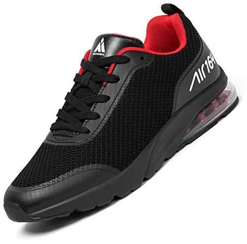 Mishansha Air Turnschuhe Herren Laufschuhe rutschfeste Atmungsaktiv Gym Sportschuhe Traillaufschuhe Leichte Trainingsschuhe Schwarz-Rot,46 EU