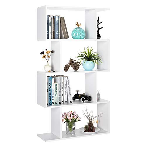 Bücherregal Regal mit 4 Fächern Standregal Raumteiler Büroregal Regalsystem für Wohnzimmer Schlafzimmer Büro Arbeitszimmer weiß 70 x 23,5 x 128 cm