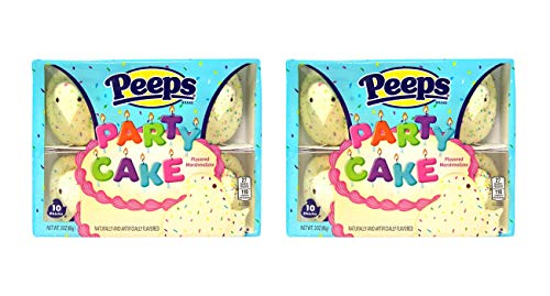 Party Cake Flavored Easter Peeps Marshmallow Chicks Candy Basket Stuffers, 3 Ounces, Pack of 2 by Just Born