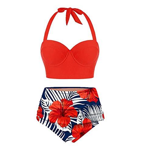 N\P Traje de baño de cintura alta con estampado femenino. rojo XXL
