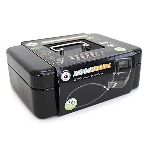 Caja de dinero portátil de 20,3 a 25,4 cm con llaves, caja de almacenamiento de dinero con cable de 1 m, color negro o plateado