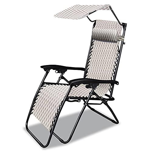 Chaise Longue Jardin, Bain de Soleil Pliant, Transat Jardin Plein air avec Pare Soleil et Appuis-Tête, léger, Charge maximale: 250 kg