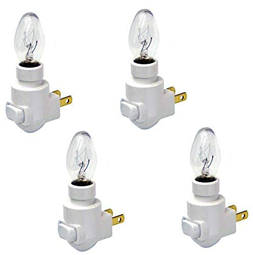 Creative Hobbies Plug in Night Light Module, White Color, Includes 4 Watt Bulb, Great for Making Your Own Decorative Night Lights, Pack of 4